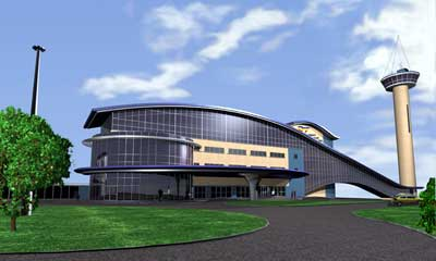 AECC architect's impression of the new frontage with observation tower