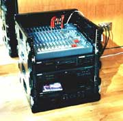 lightweight, mobile control rack with mixer, cassette, CD & MD players