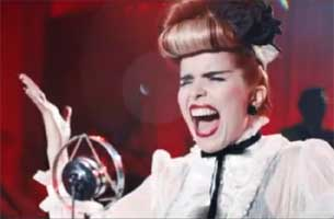 "Paloma Faith video for ""Never Tear Us Apart"" with GPO TE29 vintage microphone supplied by GB Audio. Photos courtesy of PalomaFaithVevo"