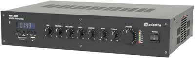 Adastra 120W PA mixer amplifier with FM, USB, SD, Bluetooth
